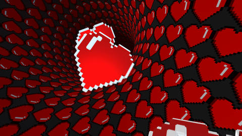 8 bits pixel heart tunnel animation. Retro arcade video game Valentine´s Day Animation