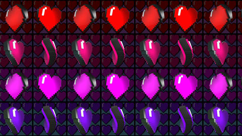 8 bits pixel dancing hearts animation. Retro arcade video game Valentine´s Day Animation