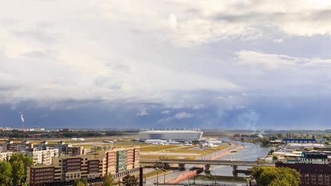 Russia, Kaliningrad: Rainy weather. Stadium Kaliningrad - football stadium in ビデオ