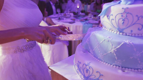 Light blue cake on banket Live Action