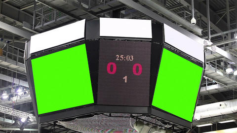 Scoreboard at the stadium with a green screen and banners GIF