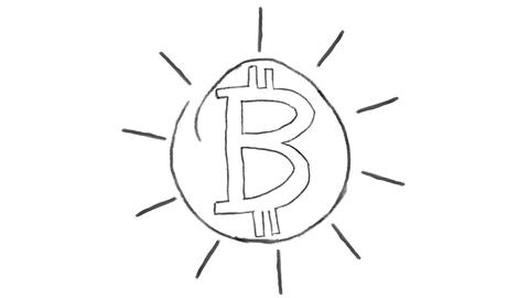 animated bitcoin symbol, chalk stroke on a white background, ideal for GIF