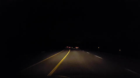 Driving Rural Highway Countryside at Night. Driver Point of View POV Evening Live Action