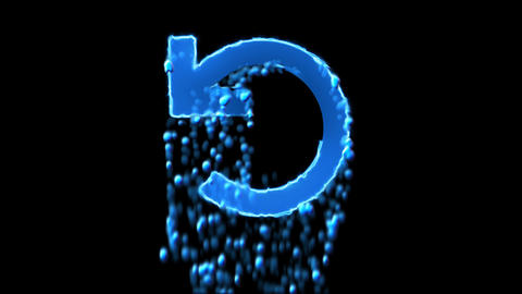 Liquid symbol undo appears with water droplets. Then dissolves with drops of Animation