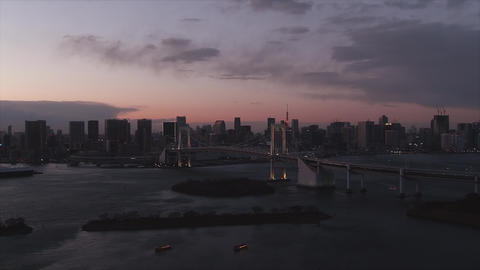 Cityscape of Tokyo and the landscape of Tokyo Bay at dusk - Zoom in ビデオ