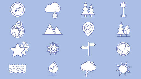 Set of map icons, natural objects Animation
