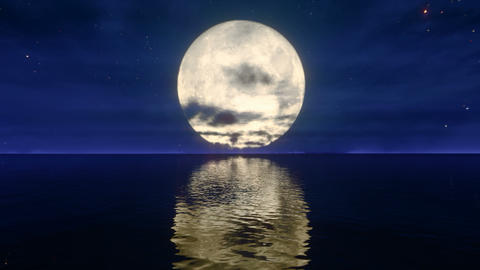 Big Moon over Sea Animación