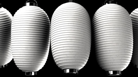 White paper lanterns on black background CG動画