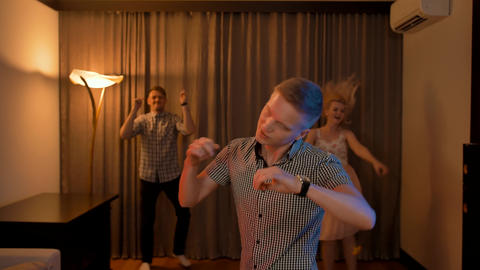Few people party, dance and have fun at home party Live Action