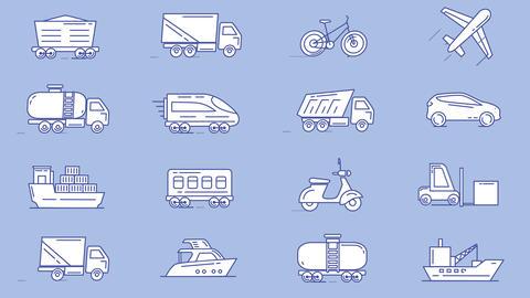 Set of vehicles icons Animation