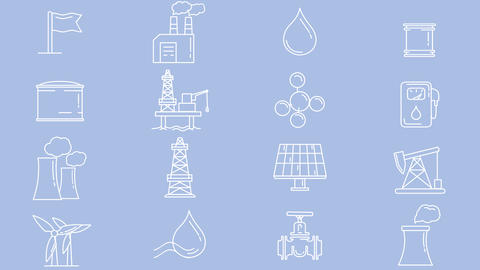 Industrial and infrastructural objects, set of line icons Animation