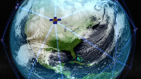 Satellites orbiting over North America. Elements of this image furnished by NASA Animation