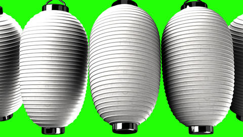 White paper lanterns on green chroma key CG動画