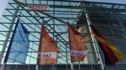 EU, Germany And CDU Flags In Front of Konrad-Adenauer-Haus In Berlin, Germany 영상물