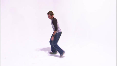 Male break dancer on a white background Footage