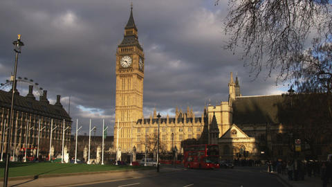Big Ben and the Palace of Westminster in London Footage