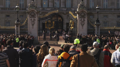 Shot of the changing of the guards at Buckingham Palace Footage