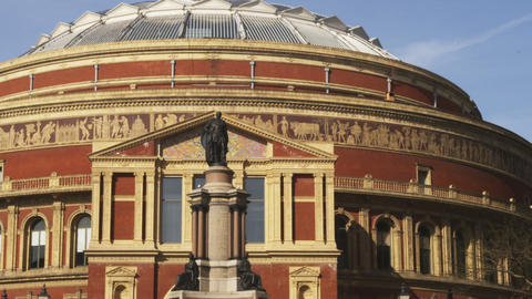 Pan of the top of the Royal Albert Hall in London Footage