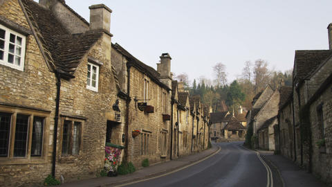 Street in-between old stone buildings in England Footage