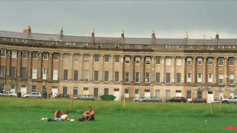 Panorama of the Royal Crescent in Bath England Live Action