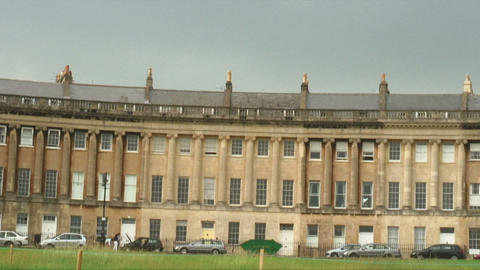 Royal Crescent houses in Bath England Live Action