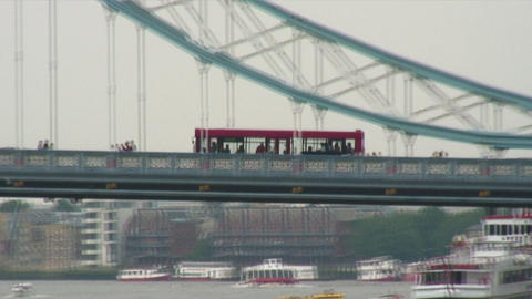 Trolley crossing a bridge in England Footage
