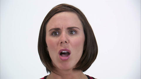Close-up of an agitated expression, exaggerated Stock Video Footage