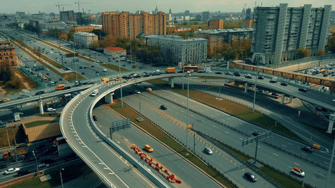 Traffic jam on city highway interchange in Moscow Live影片