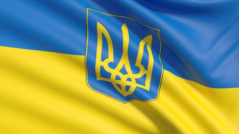 Flag of Ukraine. Waved highly detailed fabric texture フォト