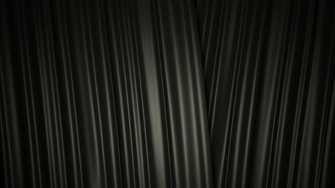 Closing and opening shiny black silk curtains on stage. 3D animation with chroma Footage
