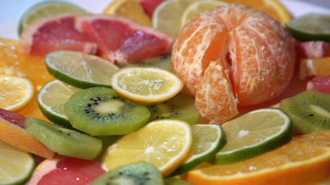 Assortment of Fresh Citrus Fruits Footage
