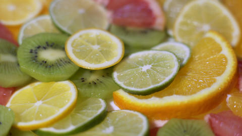 Fresh Sliced Citrus Fruits Stock Video Footage