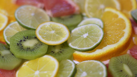 Fresh Sliced Citrus Fruits Footage