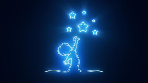 Blue Reaching Stars Logo with Reveal Effect Graphic Element Animation