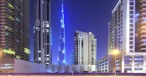Panorama of Evening Dubai. Time Lapse Footage