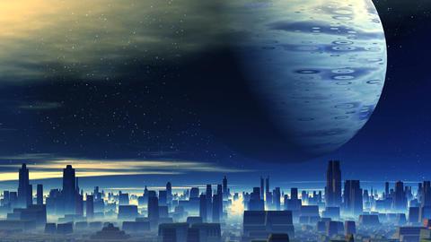 Huge Planet over Alien City GIF