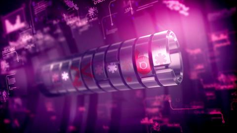 Metallic cylinder password rotating slowly Animation