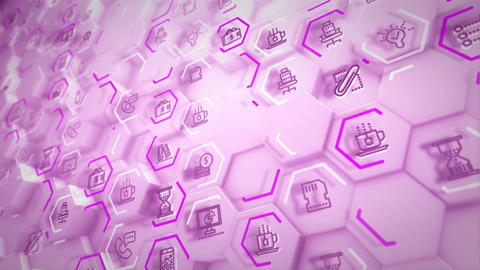 Volumetric business hexagons streaming askew Animation
