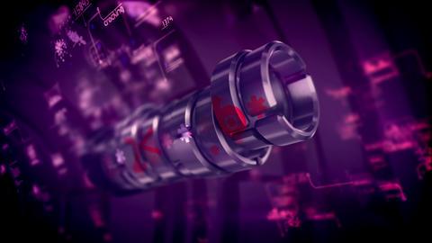 Metallic password cylinders spinning around Animation