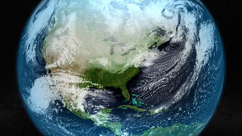 Satellite image of North America with clouds movement. Elements of this image Animation