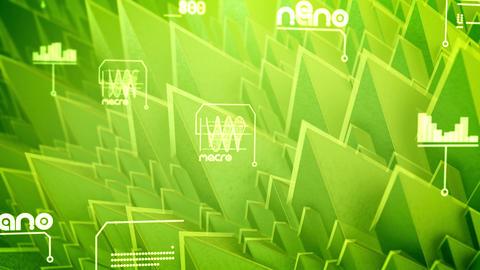 Sharp nano pyramids with diagrams Animation