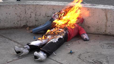 Cuenca, Ecuador - December 31, 2018 - Rockets fire inside effigy representing Footage