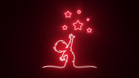 Red Reaching Stars Logo with Reveal Effect Graphic Element Animation