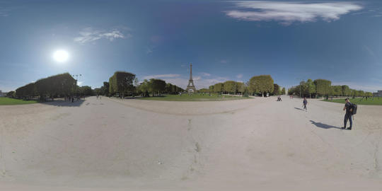 360 VR Paris view with Champ de Mars and Eiffel Tower, France Footage