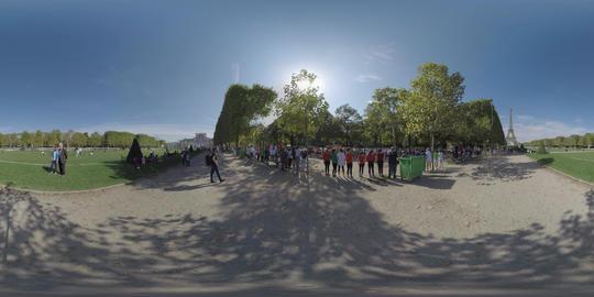360 VR Marathon at Champ de Mars in Paris, France. View with Eiffel Tower Footage