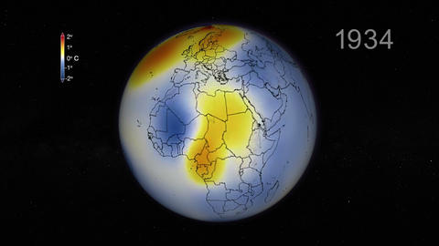 Global temperature anomalies since 1880 to 2014 graph in… Stock Video Footage