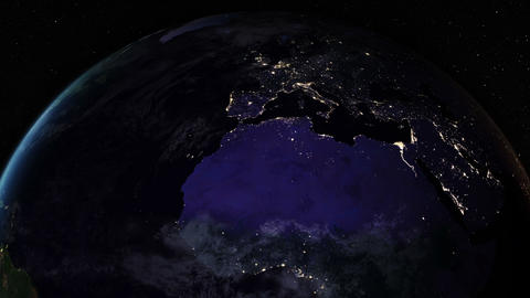 Night side of the Earth with city lights. Zoom in Europe and North Africa Animation
