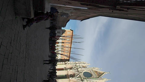 Vertical overview of the Duomo of Siena in 4k Footage