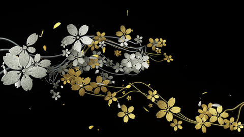 Cherry blossoms with gold and silver texture are blooming along the trajectory 2 CG動画素材