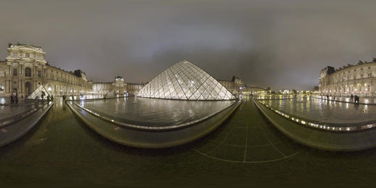 360 VR Night view of Louvre Palace, court with Pyramid and people walking. Paris Live Action